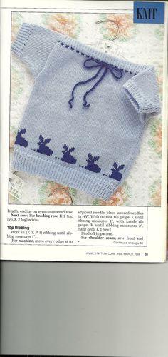 Knit baby sweater pattern, Crochet bee pattern, Vintage Needlework Patterns from Annie's Pattern Club, Feb-March 1989