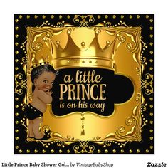 Little Prince Baby Shower Gold Foil Crown Ethnic Card