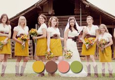 Popular Rustic Bridesmaid Dresses Colours For Your Country Weddings Replace the Yellow skirts with the brown, and use the Green as accent color = Perfect!!