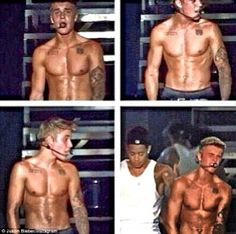 'Flexed up!' Vain Justin Bieber posts topless picture of himself performing on stage...He desperately wants to be known for his ripped body as much as his voice.