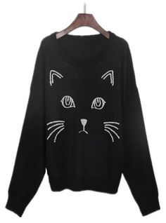 Sewing Idea - Kitty! - www.SheInside.com - Shown: Black Embroidered Cat Round Neck Loose Sweater $30.65 (Cheap! ! !)