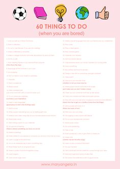 60 Things to do when You are Bored Free List Download!