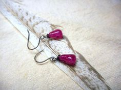 NECTAR.  Dark Berry Pink Tourmaline berries. Simple dangle earrings. Bridesmaids earrings, Maid of honor gifts by Chymiera on Etsy https://www.etsy.com/listing/195374620/nectar-dark-berry-pink-tourmaline