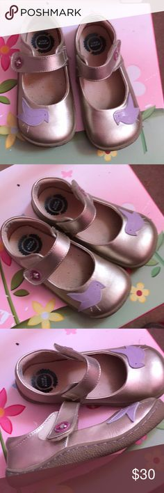 Live & Luca shoes Adorable gold with lavender bird maryjane style shoes Live & Luca Shoes Dress Shoes