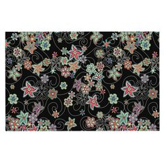 KESS InHouse Julia Grifol 'My Small Flowers' Black Floral Dog Place Mat, 13' x 18' * Startling review available here  : Dog food container