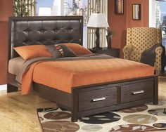 Queen Upholstered Panel Storage Bed | Ashley | Home Gallery Stores