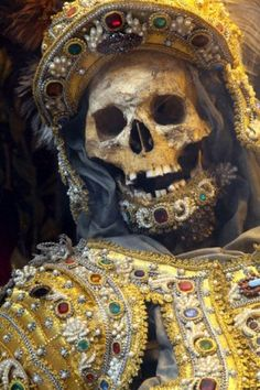 Jewelled Skeletons: 'Taken from the catacombs of Rome in the 17th century, the relics of twelve martyred saints were then attired in the regalia of the period before being interred in a remote church on the German/Czech border.'