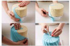Great way to wrap a cake with fondant :) – Kuchen Rezept Cake Decorating Courses, Cake Decorating Techniques, Cake Decorating Tutorials, Cookie Decorating, Decorating Ideas, Fondant Tips, Fondant Tutorial, Fondant Cakes, Fondant Rose