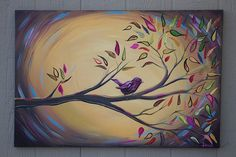 Bird on a Branch painting on canvas huge art par DanlyesPaintings