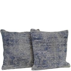 "Pair of Blue Handmade Over-dyed Rug Pillow 18""x18"""
