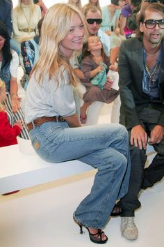 10 Iconic Denim Looks You Need To Steal For Fall #refinery29  http://www.refinery29.com/2014/08/73469/celebrity-denim-outfits-fall-2014#slide28  Kate Moss' Wide Flares  In the early aughts, when we were busy trading in our boot-cut jeans for skinnies, Kate Moss arrived at a Topshop Unique Fashion Week show in a wide-legged, faded number (yes, it's basically the modern-day Birkin pair, minus the raw edges). That choice may have seemed out of place for '07, but it forever marked another ...