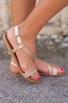 215895f6fcd2b2 Superficial Braided Sandals (Rose Gold) Summer Trends