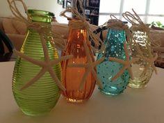 Beach Decor-Vases-Set of 4- Beach Wedding-Wedding Decor