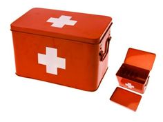 Amazon.com - Present Time Red with White Cross Metal Medicine Storage Box, Large