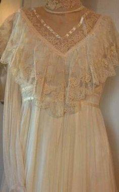 Vintage Gunne Sax Dress Gauzy Net lace Romantic Victorian Lace Wedding from hippiegunnesax on Ruby Lane