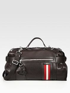 "Bally Perforated Duffel Bag  22""W x 12""H  x 8""D"