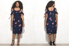#PlusModelMag Plus Fashion Find: Beyond by Ashley Graham Floral Cold Shoulder Dress at Dressbarn #PLUSmodelmag