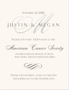 In lieu of favor donation cards can be made on behalf of the loved ones who have passed in their honor. $1 per guest