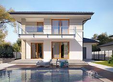 Karat - zdjęcie 3 Modern Family House, Modern House Design, Duplex House Plans, Small House Plans, Mediterranean Homes Exterior, Storey Homes, Tuscan House, Architect House, Facade House