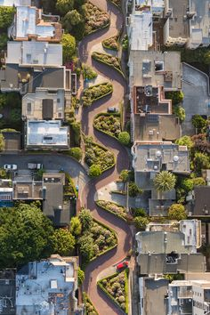 Lombard Street, San Francisco, California. Aerial by Toby Harriman on 500px