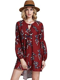 A super flowy floral keyhole dress to pair with knee high boots and a hat for boho-chic Free People vibes at half the price.
