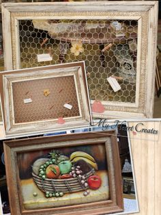 Frame with real burlap trim tossed to the curb for me to find!  The broken fruit bowl picture was removed and I replaced with chicken wire.  Frame as well as the chicken wire was painted with ASCP Old White paint and clear wax.