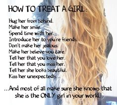 Boys, we have rules on how to treat us. Treat us well, you might get a prize