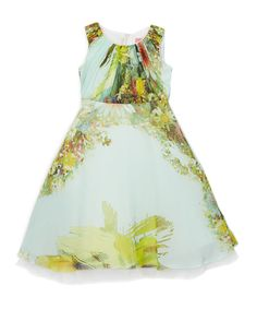 Green Abstract Floral A-Line Dress - Toddler & Girls