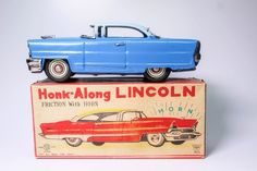 SCARCE ICHIKO HONK-ALONG LINCOLN TIN FRICTION TOY WITH HORN BOXED!! #ICHIKO #Lincoln