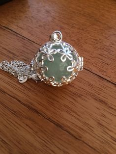 Crystal locket silver with green fluorite sphere by wellbeingbliss on Etsy