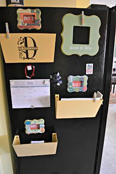 Bins on fridge for outgoing/incoming mail. I need to do this!