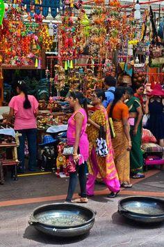 Women in saris in Little India, Singapore