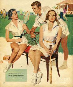 Poster print of tennis 1953 uk maudson tennis players flirting gossips gossiping mens womens Tennis Serve, Tennis Match, Tennis Clubs, Golf Clubs, Tennis Racket, Lacoste, Poker, Tennis Drawing, Tennis Posters