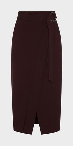 Made from a stretch poly viscose crepe from Europe, this faux wrap midi skirt features a wide belted waistband and a front split hem. Fastened with an invisible zip at the centre back. Made in Australia.