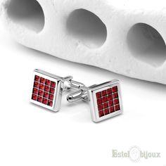 Gemelli per Uomo in acciaio  #gemelli #uomo #rosso #acciaio #red #cufflink