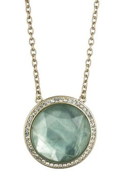 Jessi Green Flourite & Glass Halo Pendant Necklace - I don;t care for the chain arrangement but the pendant is cool