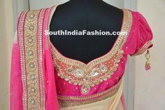 Stone work Bridal Blouse Celebrity Sarees, Designer Sarees, Bridal Sarees, Latest Blouse Designs 2014 South India Fashion