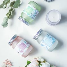 7fc4c75f1383b Scented Candles - Cherry Blossom Laurel Mint Fragrance, Scented Candles  with Beautiful Floral Jar, Great Gift for Ladies