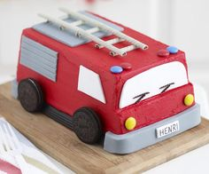 Fire engine recipe - By Australian Women's Weekly, Thrill your child on their birthday with this adorable (and delicious) red fire engine cake. Fire Engine Cake, Fireman Party, Fireman Birthday, Muesli Bars, How To Make Icing, Cake Board, Third Birthday, Celebration Cakes, Cake Decorating