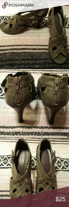 Size 6 Madden Girl Gray Strappy Heels Excellent condition.  Worn maybe twice. Size 6 Madden Girl gray strappy sexy and stylish heels. Has decorative side buckles and zipper on the back. Madden Girl Shoes Heels