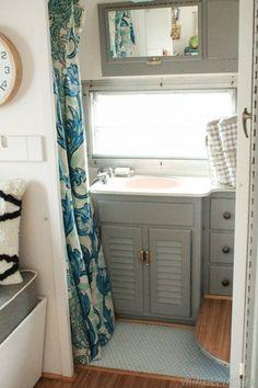 airstream renovation. calming camper colors bathroom