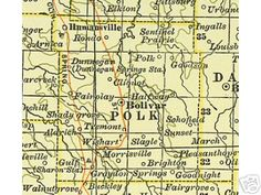 Old County map of Polk Co., MO. You can see Bolivar, where Lewis and Susanna Venable were their last years and west of there is Fairplay. The tiny town, basically a wide spot in the road, is in Polk, but near the Cedar County line. Cousins Bernard and Emma Jean Fidler lived across the line in Cedar County, south of Bearcreek. Wonderful people, now both passed on. Both related to us - Bernard on the Fidler line and Emma Jean on the Worleys.