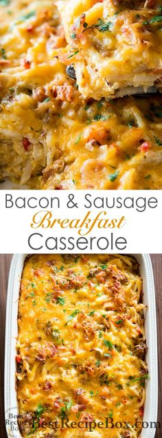 Amazing hash brown breakfast casserole recipe with bacon and sausage | @bestrecipebox