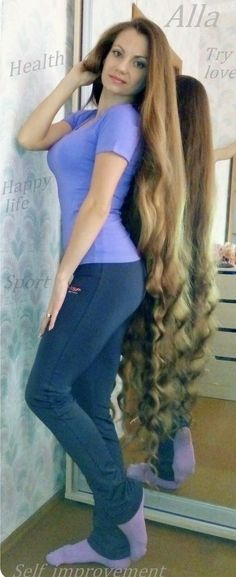 Alla Perkova Long Blonde Curls, Curls For Long Hair, Long Brunette, Long Brown Hair, Big Hair, Beautiful Long Hair, Gorgeous Hair, Beautiful Women, Really Long Hair