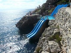 Slide to the Sea, Sicily, Italy. I want to visit if for the slide and nothing else! Places to visit things to doS 113 Km 90049 Terrasini, Sicily, Italy Oh The Places You'll Go, Places To Travel, Travel Destinations, Places To Visit, Vacation Days, Dream Vacations, Vacation Spots, Destination Voyage, Water Slides