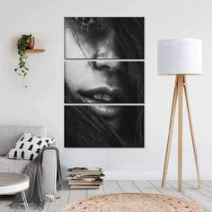 A Woman's Face I is trendy, unique, and bold. This stunning portrait canvas art is sure to make an interesting statement and undoubtedly be the centerpiece in your space. Canvas Wall Art, Canvas Prints, Tripod Lamp, Woman Face, Your Space, Modern Decor, Centerpieces, Portrait, Unique