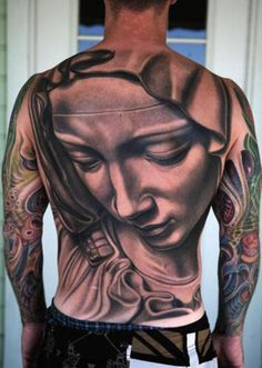 Virgin Mary Tattoo On Entire Back