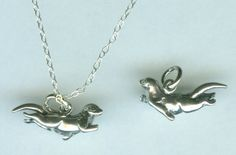 Sterling SWIMMING OTTER Pendant AND Chain by ShymaliLlamas on Etsy, $30.00