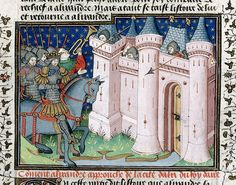 Alexander attacking a city, by the Talbot Master. Historia de proelis in French (History of Alexander), in The Talbot Shrewsbury Book (Poems & Romances), c. 1444-45, northern French (Rouen). British Library: Royal 15 E VI fol. 13
