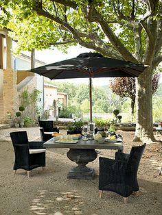 Great square table and umbrella